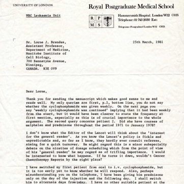 Picture of a letter from Dr. David A. G. Galton
