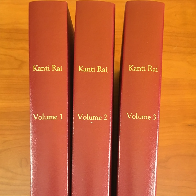 Picture of volumes of the collected works of Kanti Rai