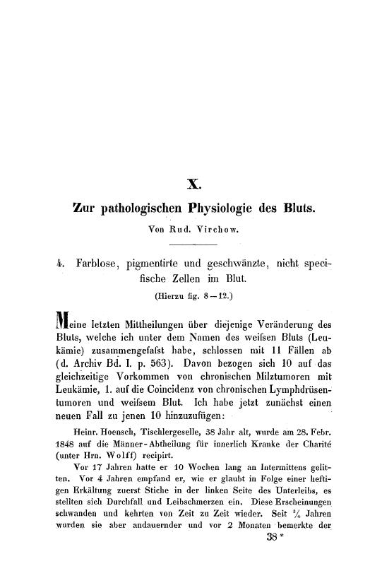 First page of Zur pathologischen Physiologie des Bluts.