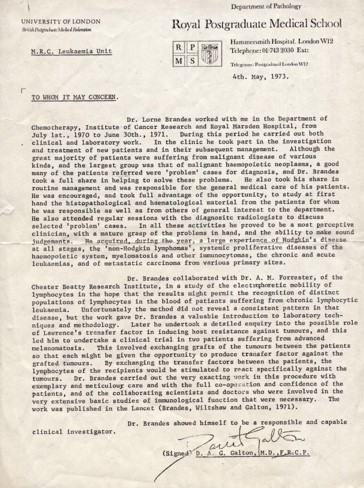 Image of Brandes Letter of Recommendation. Transcription of content below.